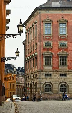 Gamla stan, Stockholm. The red building is Axel Oxenstiernas palace, built 1653. He was the Swedish Chancellor and advisor to, among others, king Gustav II Adolf.