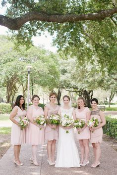 I like the different dresses but that girl with the black on the top has got to go. Plan My Wedding, Wedding Stuff, Our Wedding, Dream Wedding, Wedding Ideas, Light Pink Bridesmaid Dresses, Pink Bridesmaids, Wedding Dresses, Different Dresses
