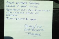Beyonce's Supportive Congratulatory Note To Friend Serena Williams - http://www.brentriggsstuff.com/beyonces-supportive-congratulatory-note-to-friend-serena-williams/