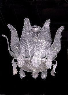 Italian Design Murano Glass Leaves Chandelier