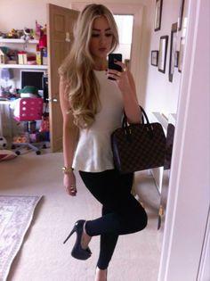 cute blonde hair, love the outfit