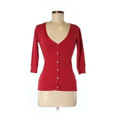 Splash Cardigan ($25) ❤ liked on Polyvore featuring tops, cardigans, red, red cardigan, red cotton cardigan, red top, cardigan top and cotton cardigan