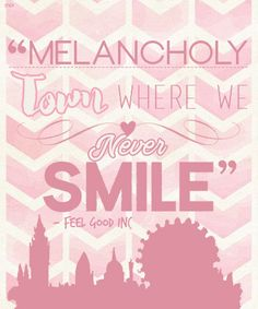 Poster - Gorilazz - Feel Good Inc - Lyrics - Pink