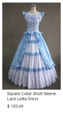 Sky Blue and White Square Collar Short Sleeve Lace Lolita Dress