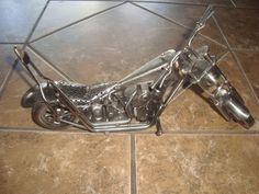 Sculpture: Metal Nuts & Bolts Motorcycle Sculpture Chopper Figurine Scrap Art