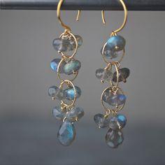 Labradorite Briolette and Rondelle Earrings on Gold Vermeil Earwire on Etsy, $82.00