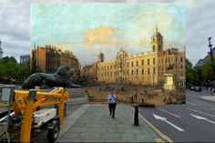 Compare: How London Looks on Google vs. Paintings From the 1700s | It looks as though a man is walking straight out of Canaletto's 1752 painting of Northumberland House.   Shystone  | WIRED.com