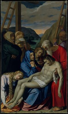 The title of this work of art is Lamentation. it was painted in 1593. it was painted with oil on canvas. it was done by Scipione Pulzone. it is a religious form of art that was painted for the chapel of the Passion of Christ in Rome.