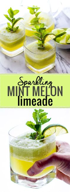 Oh so REFRESHING Sparkling Mint Melon Limeade! A Healthy bubbly limeade recipe that will keep you cool and collected all summer! Easy Smoothies, Smoothie Drinks, Smoothie Recipes, Drink Recipes, Lime Recipes, Yummy Drinks, Healthy Drinks, Yummy Food, Healthy Recipes