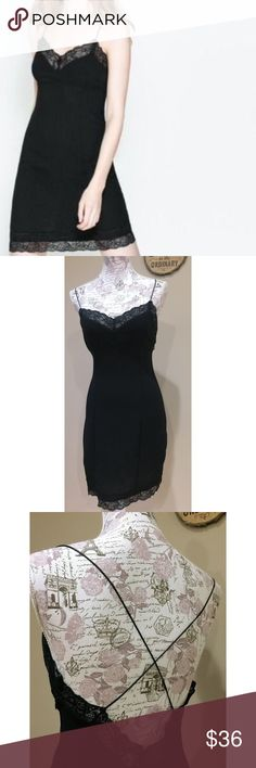 Zara Trafaluc Black Lace Trim Slip Dress Like New Like new. No flaws. Tagged M but fits like a 2-4. Spaghetti cross back straps. Side zipper. Seersucker style fabric with Lace trim. Zara Dresses