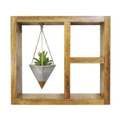Add a modern rustic touch to your home or office with this unique wooden shadow box wall planter with shelf and a hanging concrete geometric planter handmade by Timberline Studio. Perfect for small indoor plants such as air plants, succulents, or cacti (or a faux one, if you prefer). Can be hung on the wall or simply sat on a desk or windowsill.   timberlinestudio.etsy.com