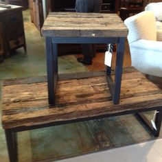 Reclaimed wood coffee table and end table