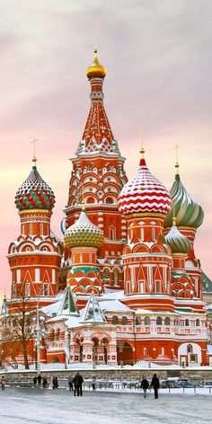 Basil's Cathedral in winter, Red square, Moscow, Russia