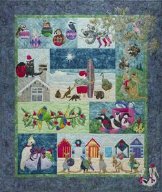 """""""Santa and Friends"""" by Margaret Vinning. Quilted by Helen Smith. Australian Christmas: Chrissy Down Under design by McKenna Ryan. Aussie Christmas, Australian Christmas, Summer Christmas, Christmas Ideas, Christmas Blocks, Quilt Block Patterns, Pattern Blocks, Fabric Patterns, Quilt Blocks"""