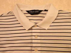 db995b6b9 POLO GOLF RALPH LAUREN golf shirt men's large 100% cotton in white with black  stripes