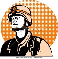 American military serviceman looking up #soldier #retro #illustration