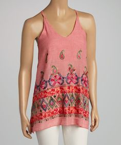 Another great find on #zulily! Pink & Green Abstract Embroidered Tank #zulilyfinds