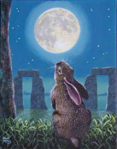 Rabbit at Stone Henge looking at the moon