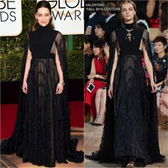 Emilia Clarke in Valentino Couture at the 73rd Annual Golden Globe Awards