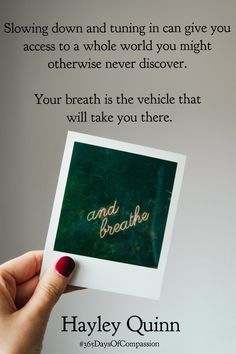Slow Down, Daily Quotes, Breathe, Polaroid Film, Daily Qoutes, Quote Of The Day