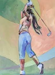 GOLF SCHOOL Daily Painting In Fine Form contemporary female golfer, painting by artist Carolee Clark Golf Painting, Painting People, Painting Tips, Girls Golf, Ladies Golf, Female Painters, Golf Art, Golf Tips For Beginners, Golf Lessons