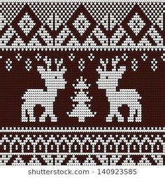Christmas and winter knitting pattern, card - scandynavian sweater style Knitted seamless pattern with deer photo Always aspired to discover how to knit, however not certain the place to begin? Winter Knitting Patterns, Knitting Charts, Knitting Designs, Knitting Projects, Motif Fair Isle, Fair Isle Chart, Fair Isle Pattern, Knitted Christmas Stockings, Christmas Knitting