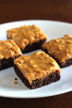Brownies with Dulce de Leche-Salted Peanut Frosting by Cooking Classy