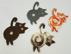 Meow! Adopt these purrrrfect little coaster kitties today! Set of 4 crochet coasters with non slip grip bottoms (see pictures for details) They can be washed and laid flat to dry. If you would like a specific color, or variation please send me and email before purchase. Also if you would like a larger set of 6 or 10 it is also possible, just send me an email before purchase.  Made in a dog-friendly home.  Each one is hand made with love so there might be slight variations. But i work very…