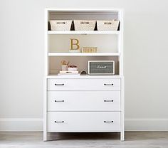 Boasting a timeless finish, our dresser base wall set shares the signature style of the entire Grayson Collection. Boasting clean lines with metal accents for an industrial look, the hutch and three base drawers lends ample space for storage. Wall Storage Systems, Storage Solutions, Bookshelf Storage, Bookshelves, Base Cabinets, Baby Furniture, Pottery Barn Kids, Dresser, Flat Rate