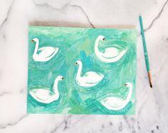 Swans Original painting in gouache by Kelsey Oseid by kelzuki