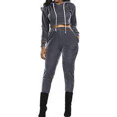 df5ce8ae2cc Slim Bloom Womens Sexy Hoody Crop Top and Pant 2 Pieces Outfit Playsuit  Jumpsuit Tracksuit Gray