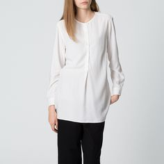 WOMEN レーヨンノーカラーロングシャツ(長袖)+E | UNIQLO