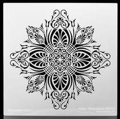 Decorative Floral Crest.  Wall / Art / Craft / Painting / Makeup / Furniture / Tattoo / Overlay Airbrush Stencil. von OverlayAirStencils auf Etsy https://www.etsy.com/de/listing/179244198/decorative-floral-crest-wall-art-craft