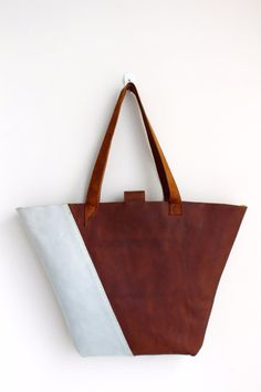 Free shipping Gray brown tote bag leather by AdeLeatherGift