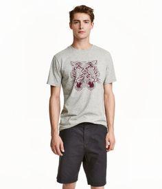 T-Shirt mit Druck | Graumeliert/Tiger | Herren | H&M DE