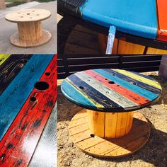 Refurbished Electrical Wire Spool Table