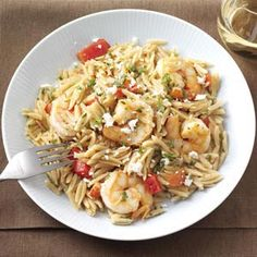 Shrimp Orzo with Feta. I could eat this every day, but I won't because I don't want to get tired of it. So, so good. And easy!