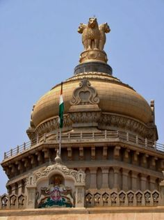 Vidhana Soudha of Bangalore, India ~ state administration building built ~ neo-Dravidian architecture. Very cool I was there June 2007 India Architecture, Indus Valley Civilization, Bay Of Bengal, City Pages, Arabian Sea, Bangalore India, National Symbols, World Religions, Hindu Temple