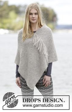 Knitted DROPS poncho in garter st with fringes in 2 strands Brushed Alpaca Silk or 1 strand Melody. Free pattern by DROPS Design.