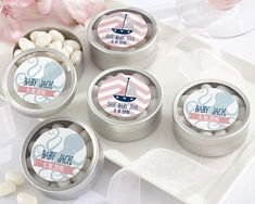 Personalized Round Candy Tin - Kate's Nautical Baby Shower Collection (Set of 12)