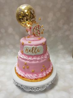 Gold Birthday Cake, Pink And Gold, Perfume Bottles, Cakes, Food Cakes, Pastries, Torte, Cookies, Cake