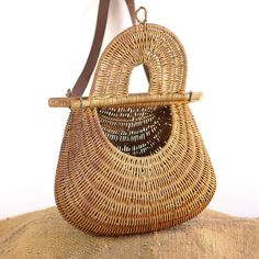 Photos Of Fish Baskets | Vintage French Woven Wicker Fishing Basket to store Equipment. Fly ...