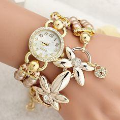 Women Pearl Butterfly Bracelet Watch Personality Fashion Watch via Fashionstyle