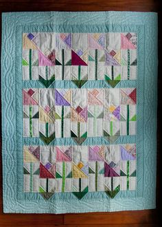 Spring Tulips Baby Quilt by HemlockRidgeHandmade on Etsy, $89.00