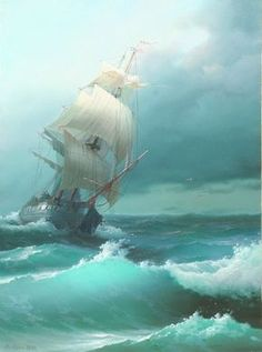 Batten down the Hatches by Viktor Luzik Ship Paintings, Seascape Paintings, Old Sailing Ships, Nautical Art, Sail Away, Tall Ships, Ship Art, Coastal, Scenery