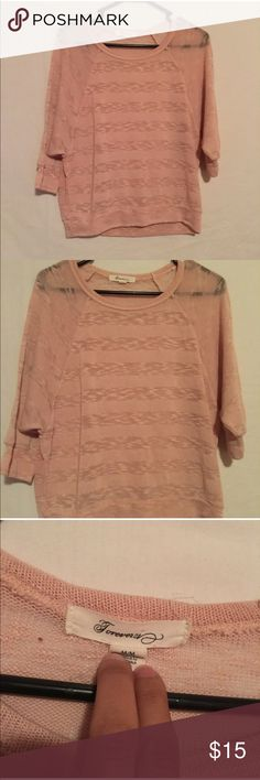 ❤️Forever 21 Sheer Top❤️ Excellent condition. No rips, stains or tears. Size medium. Color is rose. Long sleeve. Forever 21 Tops Tees - Long Sleeve