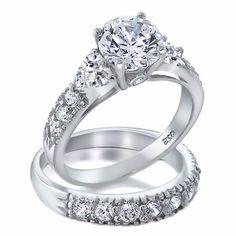 1000 Jewels LLC - Oliana: Gorgeous 4.12c Russian Ice CZ Diamond 2 Piece Wedding Ring Set, $62.95 (http://www.1000jewels.com/oliana-gorgeous-4-12c-russian-ice-cz-diamond-2-piece-wedding-ring-set/)