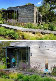 Located on a clearing in the New Forest District of the United Kingdom, the home is covered in panels of dark stained sweet chestnut.