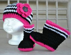 I'm in LOVE!  http://www.etsy.com/listing/89285465/diva-hat-and-boot-set-size-0-to-12