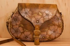 Leather Handbag - Belle pattern in Purple, White, Yellow and Antique Brown - Western Style on Etsy, $294.00